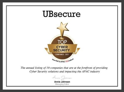 APAC CIO Outlook Magazine_CertificateUBsecure
