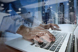 businessman hand working with modern technology and digital layer effect as business strategy concept-3